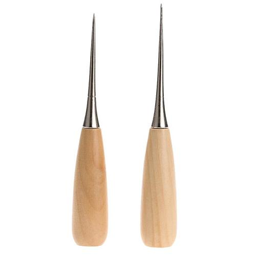 1pcs Handmade Leather Awl Round Hole Solid Wood Handle Awl Thousand Pass Cone Needle Leather Tool Perforation Tool