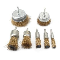 7Pcs Drill Steel Wire Brushes Wheel Cup Metal Cleaning Rust Sanding Grinding Kit