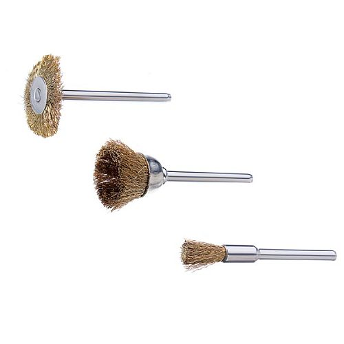 3pcs 23mm/17mm/5mm Wire Brass Brush Brushes Wheel Dremel Accessories for Rotary Tools Die Grinder & Totary Machine Tools