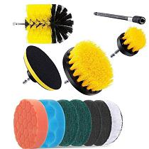 12PCS/SET Electric Drill Brush Scrub Pads Kit Power Scrubber Cleaning Kit Cleaning Brush Scouring Pad for Carpet Glass Car Clean