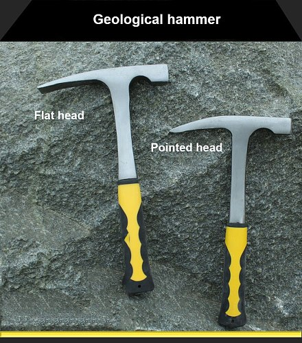 UNeefull Geology Hammer with Sharp Mouth, Best Rock Pick with Flat Mouth Pointed Mouth and Rubber Handle flat hammer