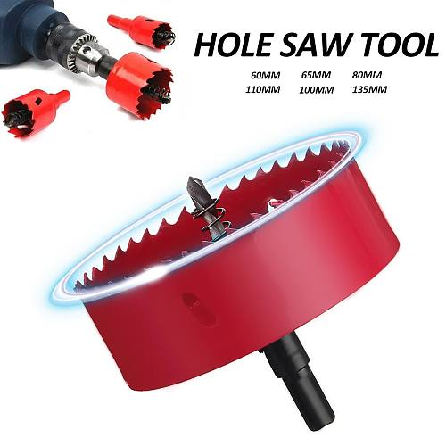 M42 Metal Opener Hole Saw Cutter Holesaw Cut Arbor Pipe Drill Bit Wood Plastic w/Rod For Wood Drilling 60/65/80/100/110/135mm