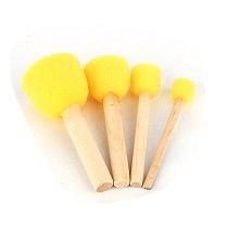 4Pcs Wooden Handle Sponge Brush Sponge Round StencilStencil Foam Brush Dabber Furniture Craft Art Painting Tool Yellow Color