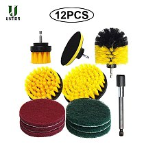 UNTIOR 12Pcs/Set Electric Drill Brush Scrub Pads Grout Power Drills Scrubber Cleaning Brush Kitchen Bathroom Cleaning Tools
