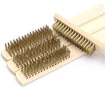 Row Wood Handle Wire Brush Copper Plated Brush Inner Polishing Grinding Cleaning Brush For Industrial Devices Surface