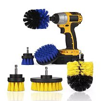 3pcs/set Drill Brush Power Scrub Clean For Leather Plastic Wooden Furniture Car Interiors Cleaning Power Scrub 2/3.5/4 Inch