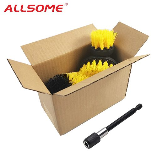 ALLSOME 3Pcs Electric Drill Cleaning Brush with Sponge and Extend Attachment Tile Grout Power Scrubber Tub Cleaning Brush HT2812
