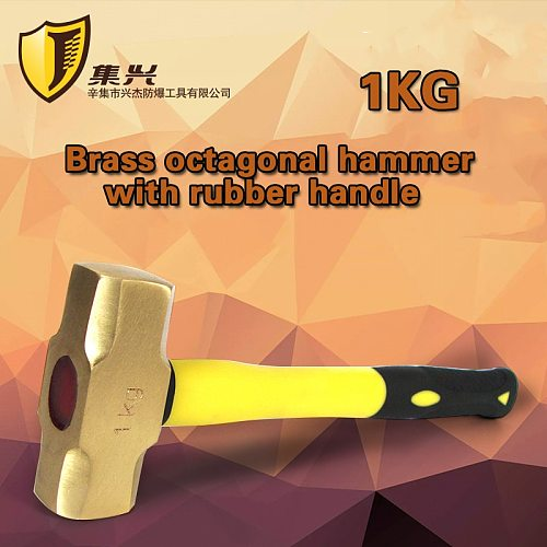 Non sparking Sledge Hammers1 kg, Brass material, Safety Hand Tools  with Plastic Handle