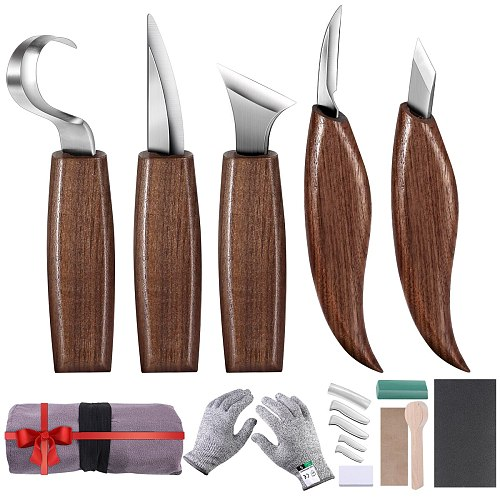 5/10/12pcs Chisel Woodworking Cutter Hand Tool Set Wood Carving Knife DIY Peeling Woodcarving Sculptural Spoon Carving Cutter
