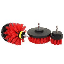 3pcs Red Power Scrub Brush Power Scrubber Brush Set Bathroom Drill for Cordless Drill Attachment Kit Car Interiors Cleaning tool