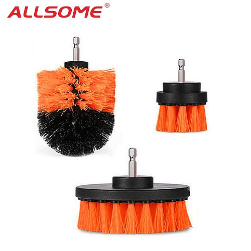 ALLSOME 3pcs 2/3.5/4 Inch Drill Cleaning Brushes Tile Grout Power Scrubber Tub Cleaning Brush Orange Color HT2603+