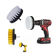 1pc 4  White Yellow Plasstic Soft Drill Brush Attachment for Cleaning Carpet Leather and Upholstery Sofa Wooden Furniture