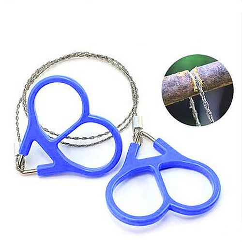 54cm Outdoor Camping Hiking Pocket Saw Wire Travel Emergency Survive Tool Stainless Steel Wire Kits with Finger Plastic Handle