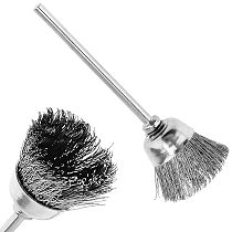 8mm Stainless Steel Wire Brush with Bowl-shape Head and 2.35mm Shank Tools Accessories for Metal-cleaning of Drill Tools