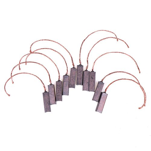 New 10Pcs Carbon Brushes Wire Leads Generator Generic Electric Motor Brush Replacement 4.5 x 6.5 x 20mm Wholesale