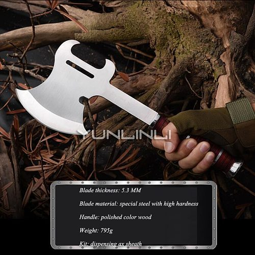Bull Head Fire Long Axe Woodworking Outdoor Camping Chopping Board Axe NTF