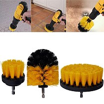 3Pcs Electric Drill Brush Kit Round Cleaning Brush For Carpet Glass Car Tire Grinding Polishing Tool Power Scrubber Drill Brush