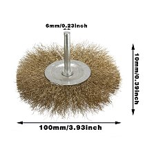 3pcs 100mm Brass Steel Wire Wheel Flat Cup Brush Shank Drills Grind Rust Removal Paint Removal Polishing Like Wood Grinding