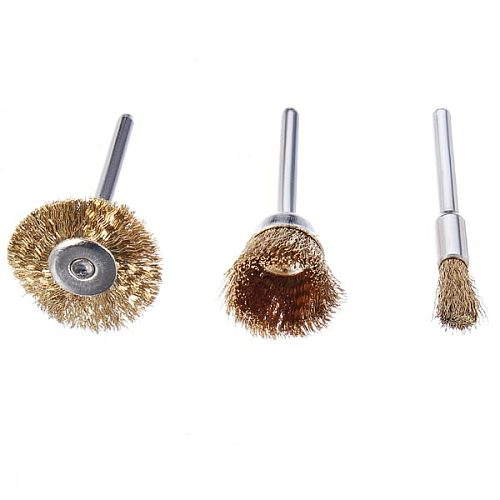 3Pcs/Set 23mm/17mm/5mm Wire Brass Brush Brushes Wheel Dremel Accessories for Rotary Tools Die Grinder Totary Machine Tools