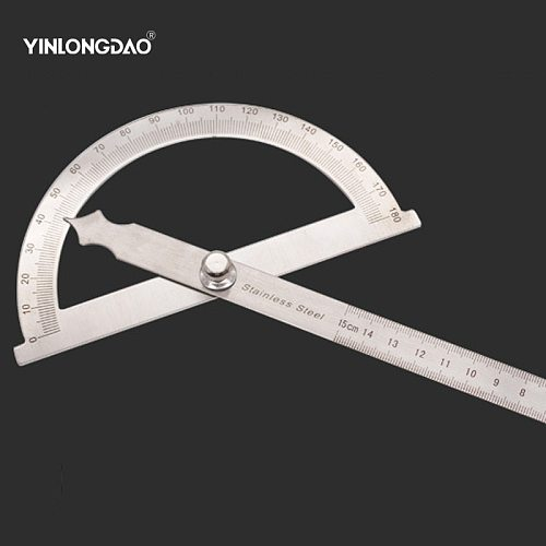 YINLONGDAO New Protractor Round Head  Square Craftsman Rule Ruler Machinist 90 x 150mm Stainless Steel General Tool