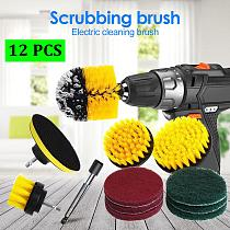12 pcs/set Power Scrubber Brush Drill Brush Clean for Bathroom Surfaces Tub Shower Tile Grout Cordless Power Scrub Cleaning Kit