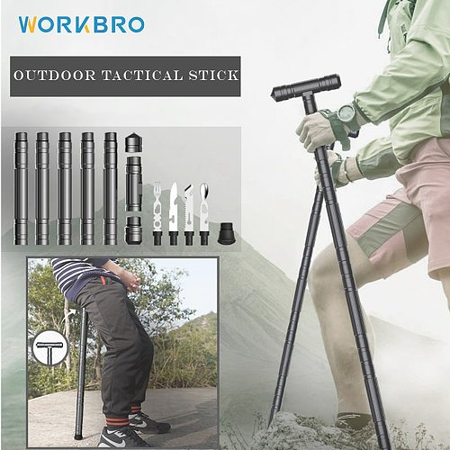 Multifunctional Tactical Trekking Pole Outdoor Camping Equipment Aluminium Alloy Telescopic Folding Trekking Pole Survival Tool