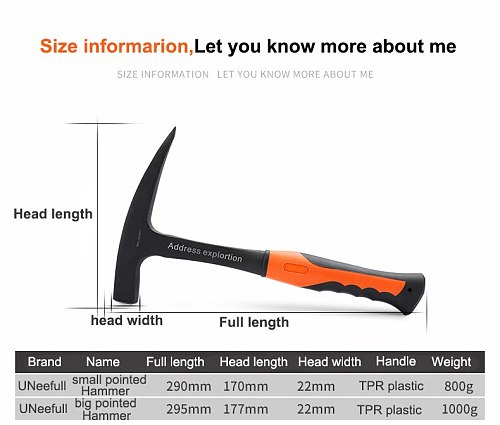 UNeefull Professional Geological Exploration Hammer,Pointed & flat hammer, Escape Hammer,Mineral Exploration Hand tools