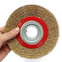 1Pcs 8 Inch 200mm Steel Flat Wire Wheel Brush with 10pcs Adaptor Rings For Bench Grinder Polish / metal polishing / grinding
