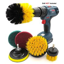Drill Brush Attachment Set  Scrubber Brush  Scouring and  Scrub Pads All Purpose Cleaner For sofa, kitchen, bathroom etc(6pcs)