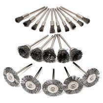 20pcs 3.175mm Shank Wire Steel Wheel Brushes Wheel Set Dremel Accessories  Hand Tools