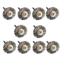 10 pcs/set 22mm Steel Wire Wheel Brush Silver Color Steel Wire Brush Drill Buit For Rotary Grinder Tool Cleaning Polishing Brush