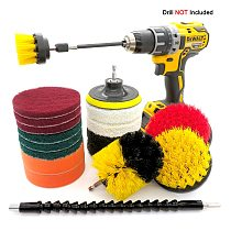 19Pcs Nylon Drill Brush Set For sofa, kitchen, bathroom Scrubber Brush Scouring and Scrub Pads All Purpose Cleaner