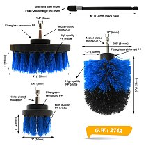 4pcs/set Drill Power Scrub Clean Brush Boat Cleaning Supplies with Extension for Gel Coat, Wood, Painted - Hull and Deck