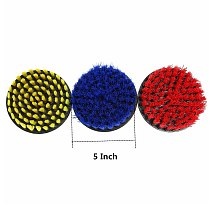 5 Inch Red/Yellow/Blue Bristle Electric Drill Cleaning Brush for Dust Removal Scrubber Cleaning Brush Tub Cleaner Tools Kit