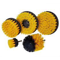 3/4/5Pcs Yellow Plasstic Soft Electric Drill Brush Attachment for Cleaning Carpet Leather and Upholstery Sofa Wooden Furniture
