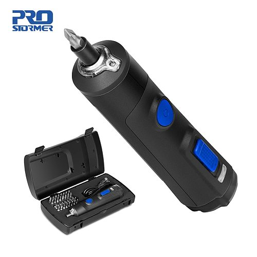 4V Mini Electric Screwdriver Set USB Rechargeable Smart Cordless Electric Screwdriver Handle with 32+1 Bit Set by PROSTORMER