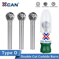 XCAN 6mm Shank Rotary Burrs Type D Tunsgten Carbide Burrs Metal Carving Cutter Single Cut Rotary Burr File