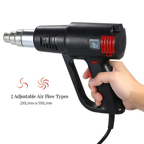 2000W Industrial Hot Air Gun LCD Digital Temperature controlled Heat Blower Electric Adjustable Temperature Heat Gun Tool