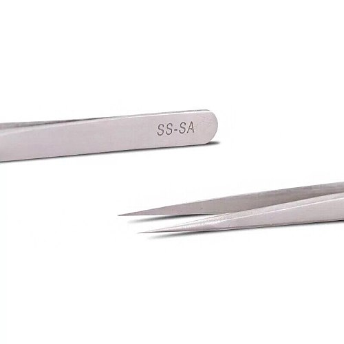 VETUS SS-SA High Precision Stainless Steel 14mm Pointed Tweezers Clamps Lengthened Medical Nest Maintenance