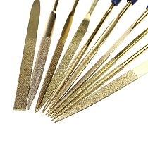 New 10Pcs Titanium Diamond Coating Needle Flat File Set Metal Working Craft Tool 19QB
