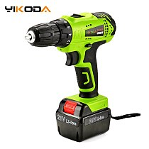 YIKODA 21V Electric Screwdriver Rechargeable Cordless Drill Lithium Battery Household Multi-function Double Speed Power Tools