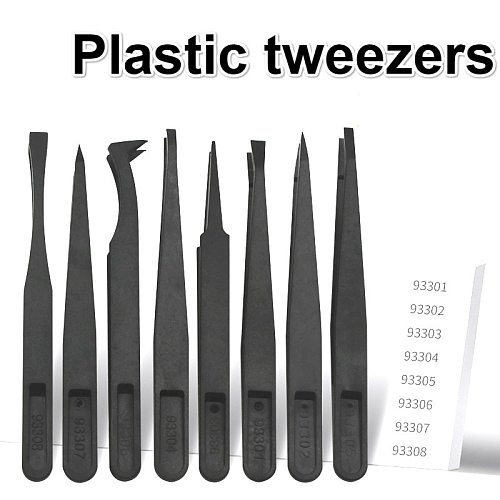 1/8Pcs Multifunction Thicken Anti-static Carbon Fiber Electronic Tweezers Kit ESD Plastic Forceps PCB Repair Hand Tools Set