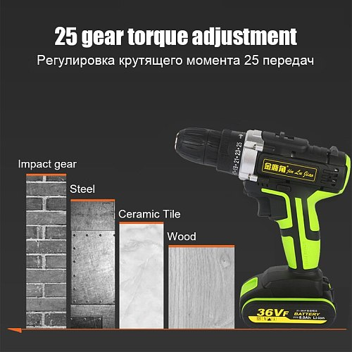 36VF Industrial Double Speed Lithium Battery Charging Electric Drill Multi-functional Electric Screwdriver