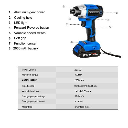 Impact Electric Screwdriver Cordless Drill 300Nm Brushless Motor 20V Power Tool by PROSTORMER