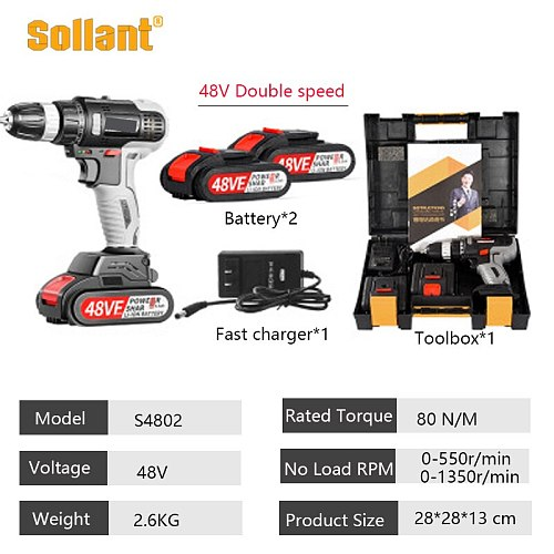 Sollant  48V Cordless Drill Electric Screwdriver Mini Wireless Power Driver DC Lithium-Ion Battery 3/8-In