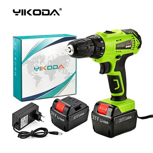 YIKODA 21V Electric Screwdriver Lithium Battery Rechargeable Cordless Drill Household Multi-function Double Speed Power Tools