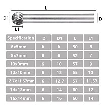 Single Cutter Rotary File 6mm Shank Tungsten Carbide Burrs Type D Milling Cutter For Woodworking Carving Tool