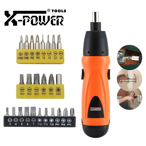 X-power Electric Screwdriver Mini 6V AA Battery Cordless Screw Driver Cheap Power Tool Set For Home DIY Assemble Disassemble