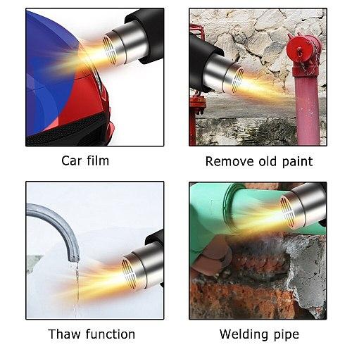 2000W 220V EU Industrial Electric Hot Air Gun Thermoregulator Heat Guns LCD Display Air Dryer for Soldering Building Heat Gun