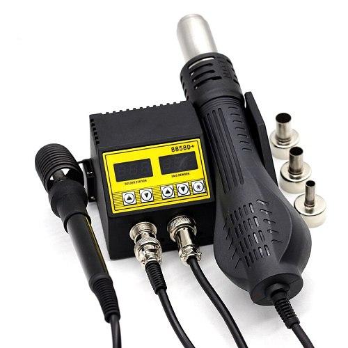 Hot Air Blower Heat Gun 8858D+ 220v 480w Bga Rework Soldering Station Welding Solder Iron 3 BGA Nozzles VS 8858 8586 HairDryer
